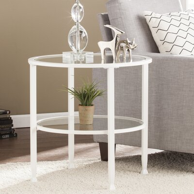 Casas Round End Table Color: White