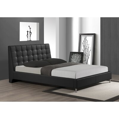 Belle Upholstered Platform Bed Size: Queen, Color: Black