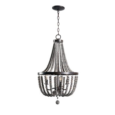 Louis Wood Bead 3-Light Mini Chandelier