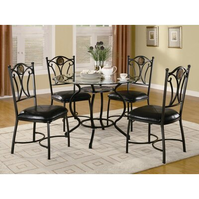 Image of Wildon Home Alba 5 Piece Dining Set in Black (CST8880)
