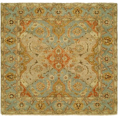 Sai Hand-Knotted Brown/Blue Area Rug Rug Size: Square 6