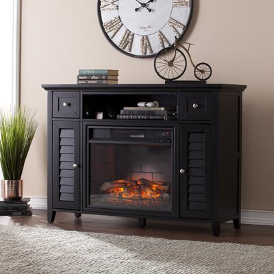 48 TV Stand with Infrafred Fireplace Color: Black