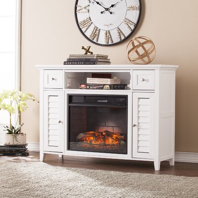 48 TV Stand with Infrafred Fireplace Finish: White