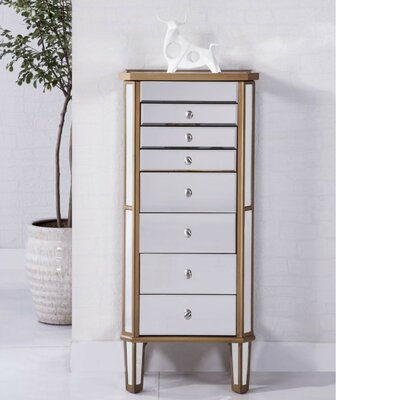 7 Drawer Jewelry Armoire Color: Gold