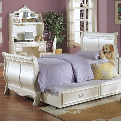 Wildon Home Pearl Sleigh Bed with Trundle in Pearl White (6 Pieces) - Size: Full at Sears.com