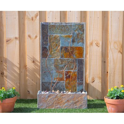 Natural Stone Creek Floor Fountain with Light