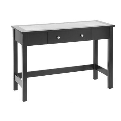 Bay Shore Console Table with Glass Top Finish: Black