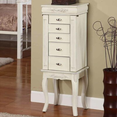 Moser Jewelry Armoire with Mirror Color: White
