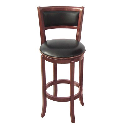 Vinyl 30 Swivel Bar Stool Frame Finish: Cherry