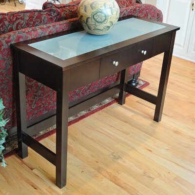 Bay Shore Console Table with Glass Top Finish: Espresso