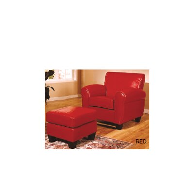 Wildon Home Bycast Leather Chair and Ottoman - Color: Red at Sears.com