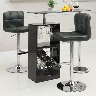 Bar table finish black modern dining room sets for Table bar escamotable