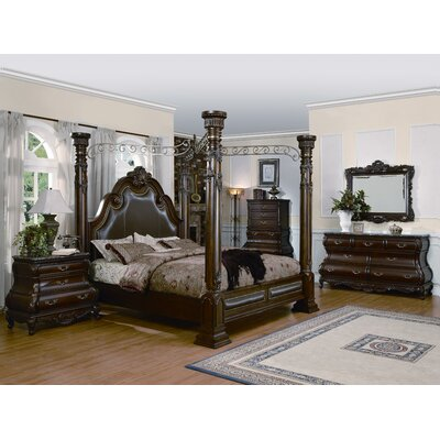 Alexandria Canopy Bed Size: King, Color: Cherry