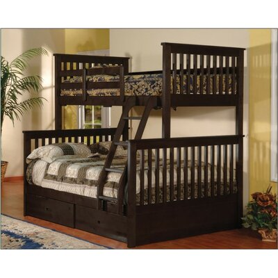 Jamarcus Twin over Full Bunk Bed with Storage Color: Espresso