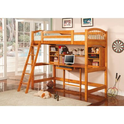 No credit financing Dorena Twin Low Loft Bed with Desk ...