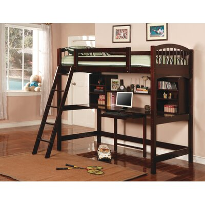 Dorena Twin Low Loft Bed with Desk and Bookshelves Finish: Cappuccino