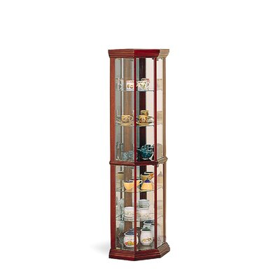 Cheap Wildon Home Benton City Curio Corner Cabinet with Mirror in Cherry (CST3689)