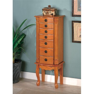 "Wapato 37"" Jewelry Armoire in Warm Oak"