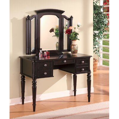 Coaster Wood Drawer Makeup Vanity Table Mirror Dark Modern Black Bedroom Sets