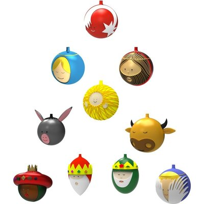 Alessi 10 Piece Baldassarre Christmas Ornament Set AMJ13S10
