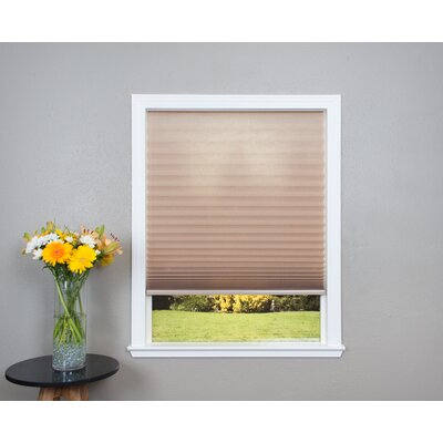 Easy Lift Trim-at-Home Cordless Light Filtering Fabric Pleated Shade Size: 36 W x 64 L, Color: Natural