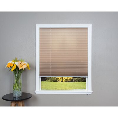 Corded Light Filtering Fabric Pleated Shade Size: 48 W x 72 L, Color: Natural