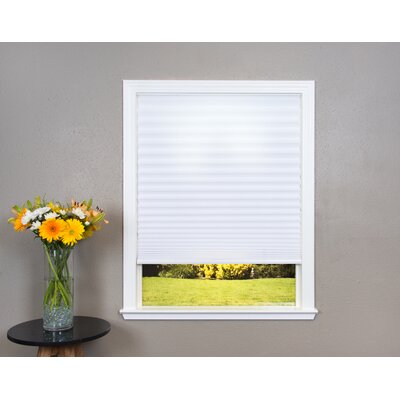 Easy Lift Trim-at-Home Cordless Light Filtering Fabric Pleated Shade Size: 36 W x 64 L, Color: White
