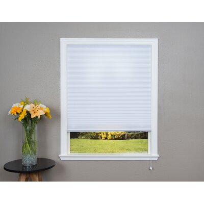 Corded Light Filtering Fabric Pleated Shade Size: 36 W x 72 L, Color: White