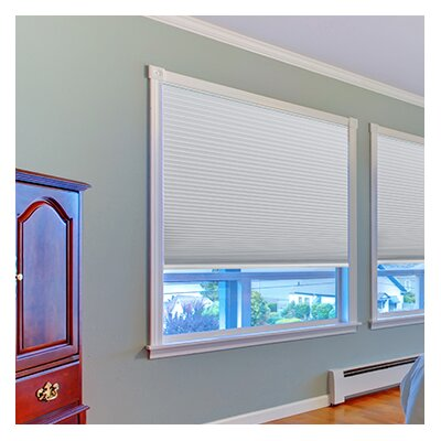 Easy Lift Trim-at-Home Cordless Blackout Fabric Cellular Shade Color: Smoke White, Size: 60 W x 64 L