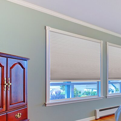 Easy Lift Trim-at-Home Cordless Blackout Fabric Cellular Shade Size: 48 W x 64 L, Color: Natural