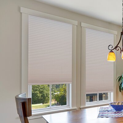 Easy Lift Trim-at-Home Cordless Light Filtering Fabric Cellular Shade Color: Natural, Size: 60 W x 64 L
