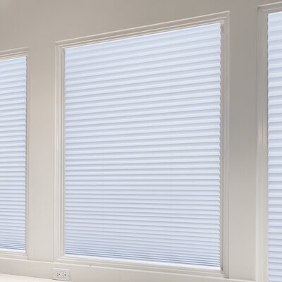Easy Lift Trim-at-Home Cordless Light Blocking Fabric Pleated Shade Color: Smoke White, Size: 30 W x 64 L