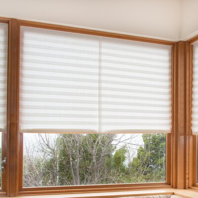 Paper Light Filtering Pleated Shade Color: White, Size: 48 W x 90 L