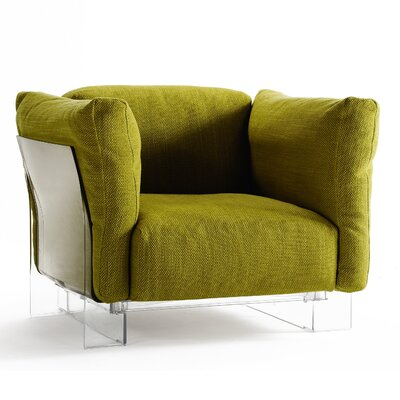 Pop Duo Cotton Armchair Finish: Transparent, Upholstery Color: Green