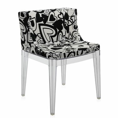 Mademoiselle Padded Armachair Frame Finish: Transparent, Upholstery: Black Hearts