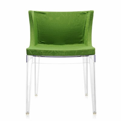 Mademoiselle Side Chair Frame Finish: Transparent, Upholstery: Green damask