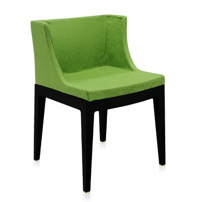 Mademoiselle Padded Armachair Frame Finish: Black, Upholstery: Green damask
