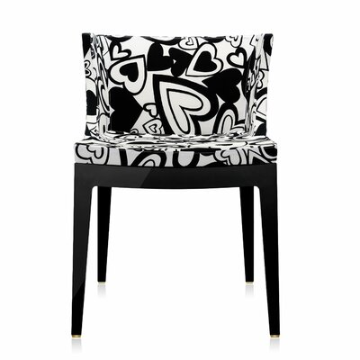 Mademoiselle Padded Armachair Frame Finish: Black, Upholstery: Black Hearts