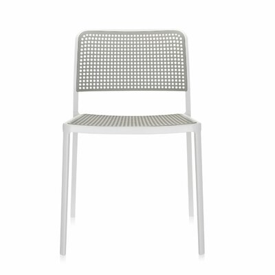 Audrey Armeless Chair (Set of 2) Finish: Polished Aluminum/White