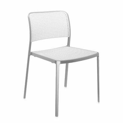 Audrey Armeless Chair (Set of 2) Finish: Aluminum/White