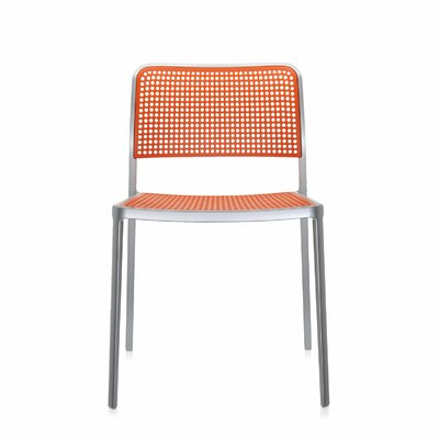 Audrey Armeless Chair (Set of 2) Finish: Aluminum/Orange