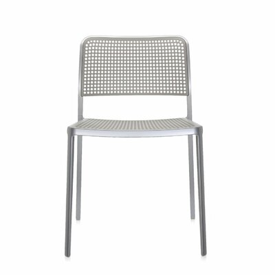Audrey Armeless Chair (Set of 2) Finish: Polished Aluminum/Light Grey