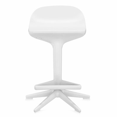 Adjustable Height Swivel Spoon Stool Finish: White