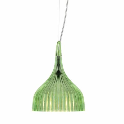 E 1-Light Mini Pendant Color: Green
