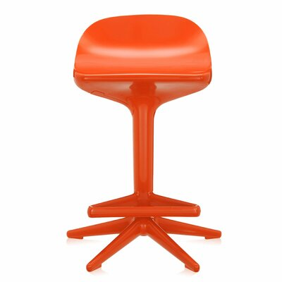 Adjustable Height Swivel Spoon Stool Finish: Orange