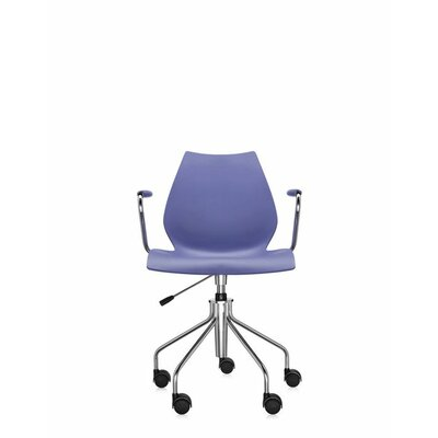 Maui Armchair on Castors Finish: Navy Blue, Style: Height Adjustable Swivel Base with Arms Product Picture 1384
