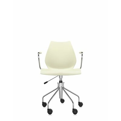 Maui Armchair on Castors Finish: Milky Yellow, Style: Height Adjustable Swivel Base with Arms Product Picture 1384