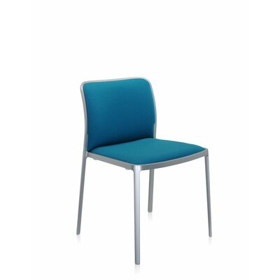 Audrey Soft Side Chair (Set of 2) Color: Polished Aluminum, Color: White Lycra