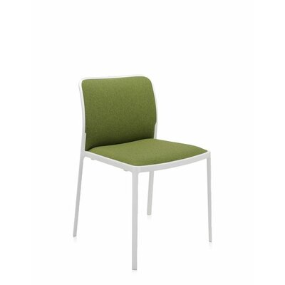 Audrey Soft Side Chair (Set of 2) Color: Painted White, Seat Color: Acid Green Trevira