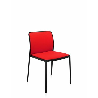 Audrey Soft Side Chair (Set of 2) Color: Painted Black, Seat Color: Red Trevira